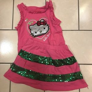 Hello Kitty top & skirt set girls 6x